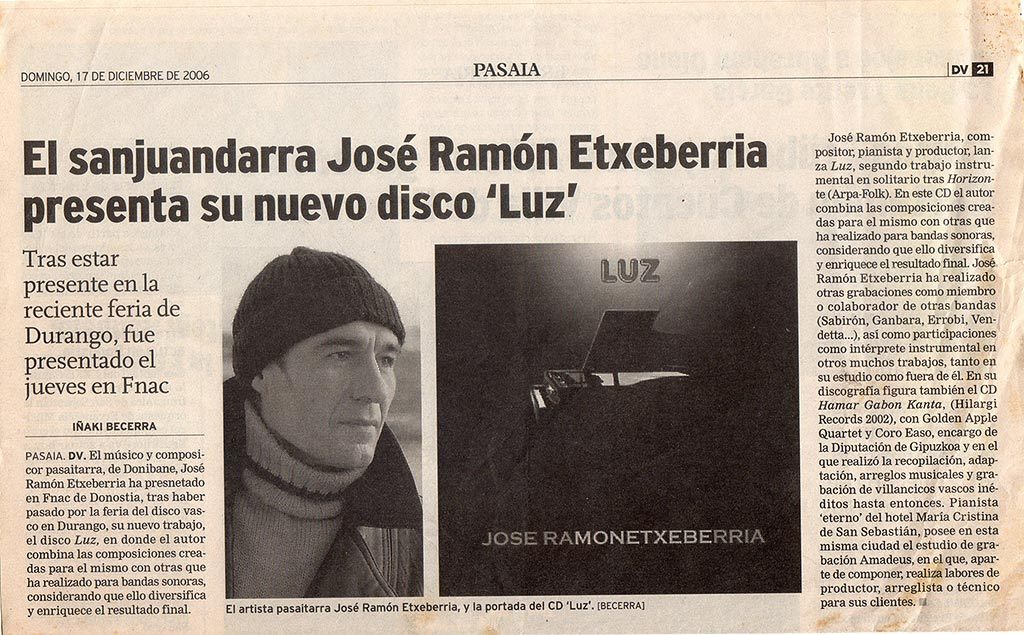 Presentación disco LUZ Diario Vasco
